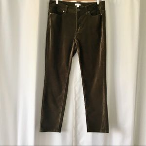 J Jill Velour Jeans Olive-brown